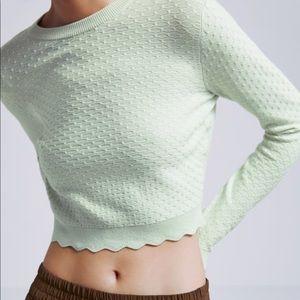 Zara Textured Knit Crop Mint Light Green Sweater S